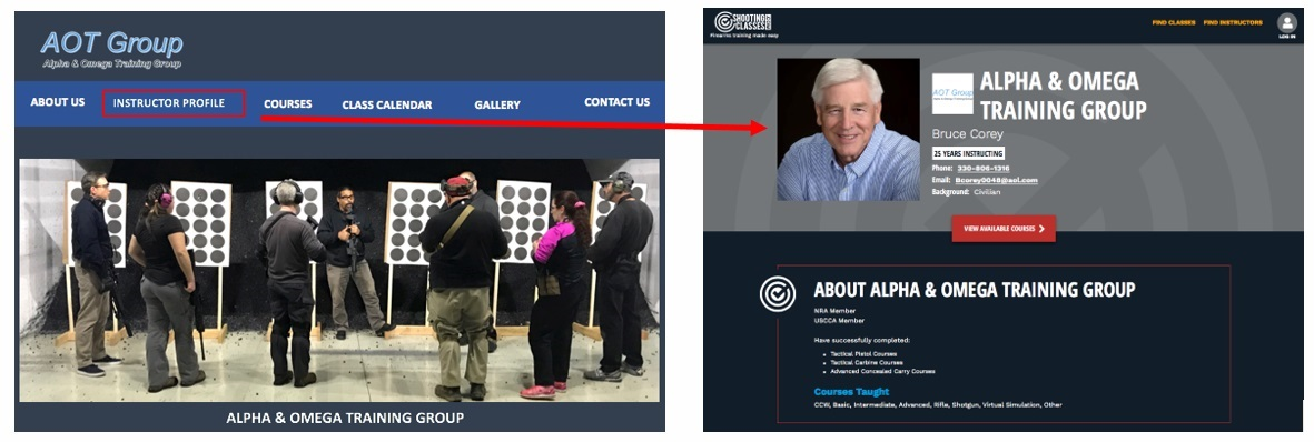 One way of displaying a link to your Instructor Profile on ShootingClasses.com
