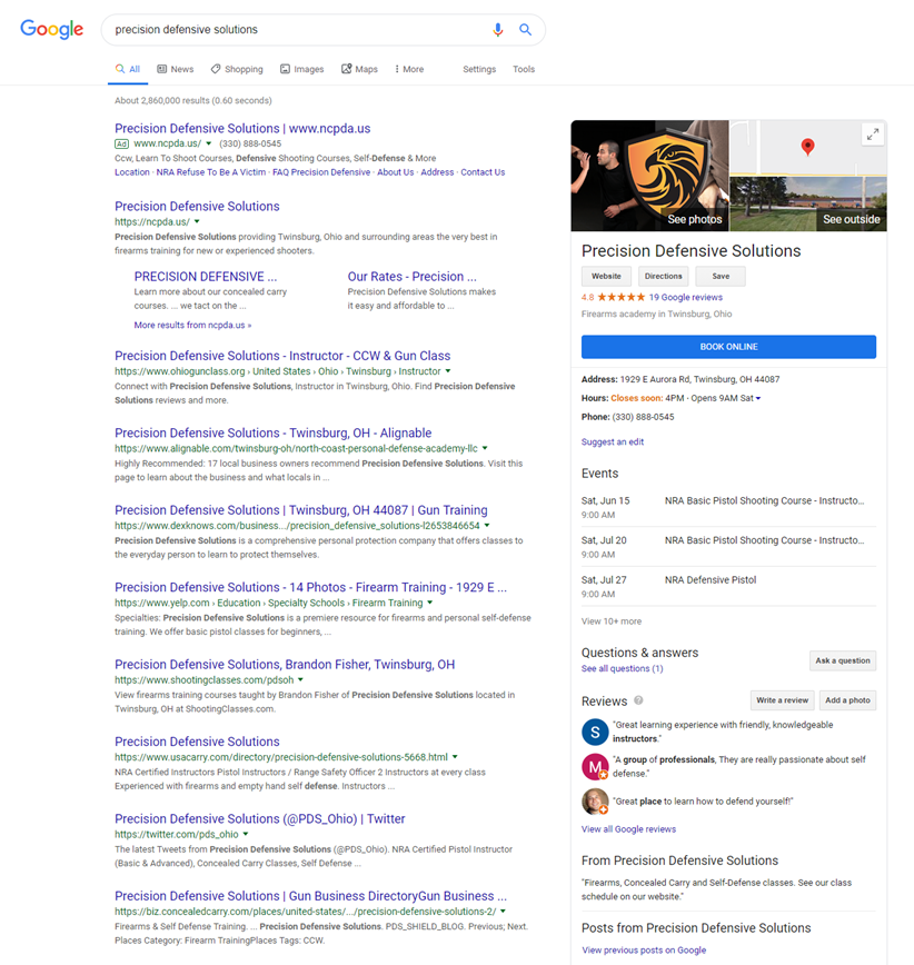 Google search result with Google My Business information