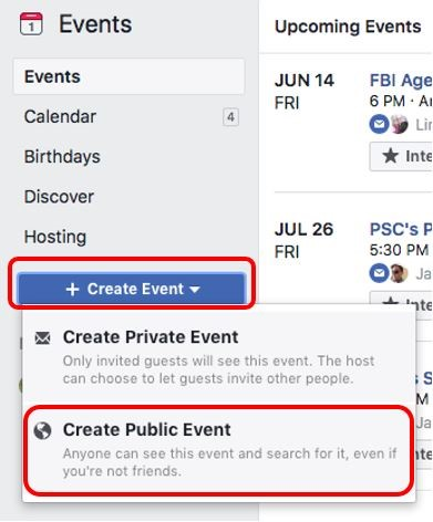 Screenshot of Facebook showing how to create a public event