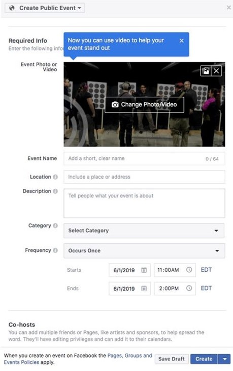 Screenshot of the information fields you can use for a Facebook Event