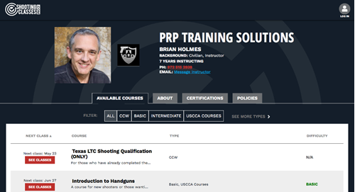 Example of instructor landing page